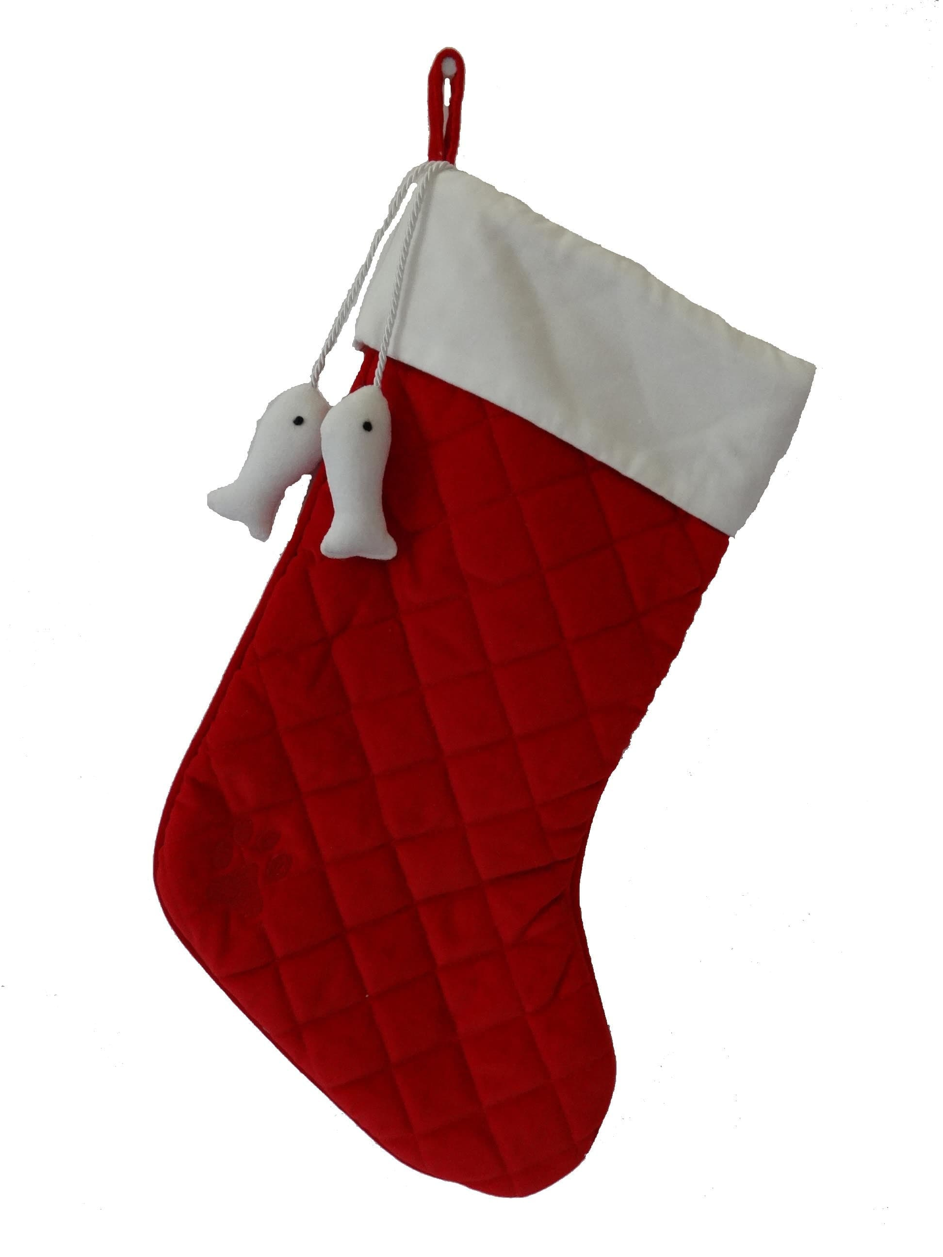 Christmas Cat Stocking-Red + White Velvet with Dangling Fish - A Pet's World