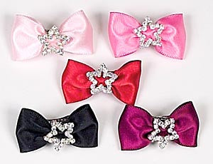 Dog Hair Bows- Satin with Rhinestone Star Barrette - A Pet's World