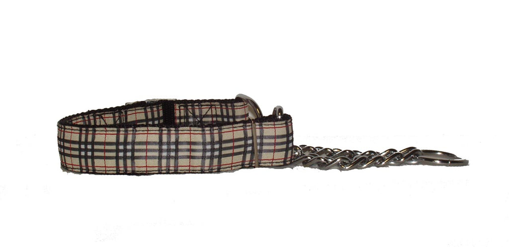 Chain Martingale Training Collar-Tan Plaid - A Pet's World