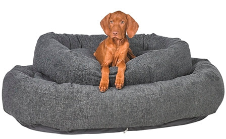 Pet Bed-Roll-O Orthopedic Big Dog Bed in Graphite Chenille. - A Pet's World