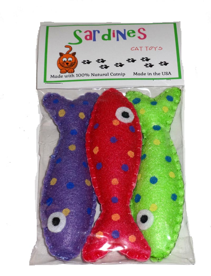Cat Toy- Sardines with Natural Catnip USA Made - A Pet's World