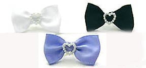 Dog Hair Bows-Satin with White Pearl Heart - A Pet's World