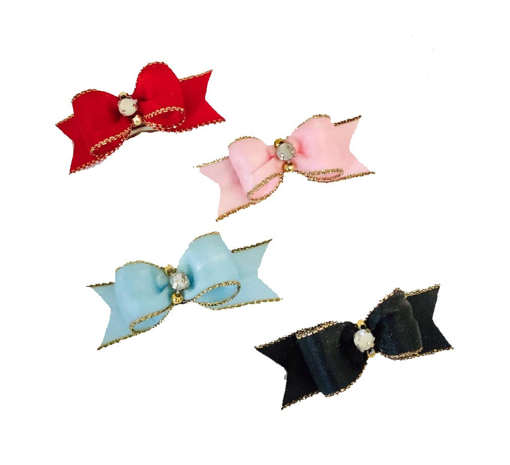 Elegant Satin Starched Show Bows with gold metallic edge centered rhinestone and 2 gold beads.