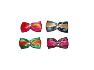 Dog Hair Bows -   Satin Stripe with Rhinestones - A Pet's World