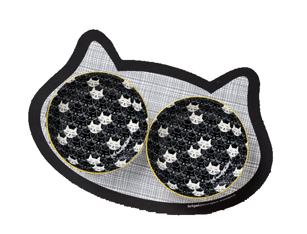 Set of Whisker Safe Shallow Cat Bowls + Placemat - A Pet's World