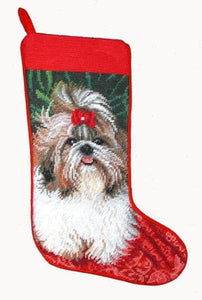 Needlepoint Christmas Dog Breed Stocking - Shih Tzu with Red Bow - A Pet's World