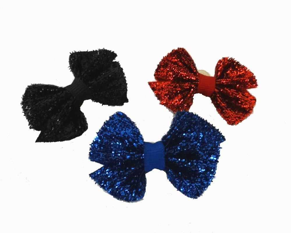 Dog Bows-Holiday Shimmer Bows with Elastics - A Pet's World