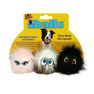 Dog Toys-3 Furry Eye Balls with Squeakers - A Pet's World