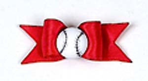 Dog Hair Accessories-Starched Show Bows with Baseball - A Pet's World