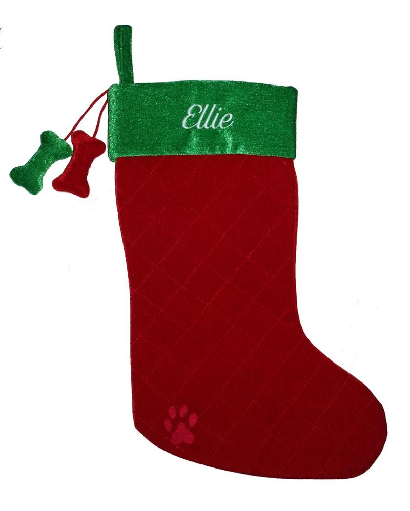 Christmas Dog Stocking Small Berry + Green with Dangling Dog Bones - A Pet's World