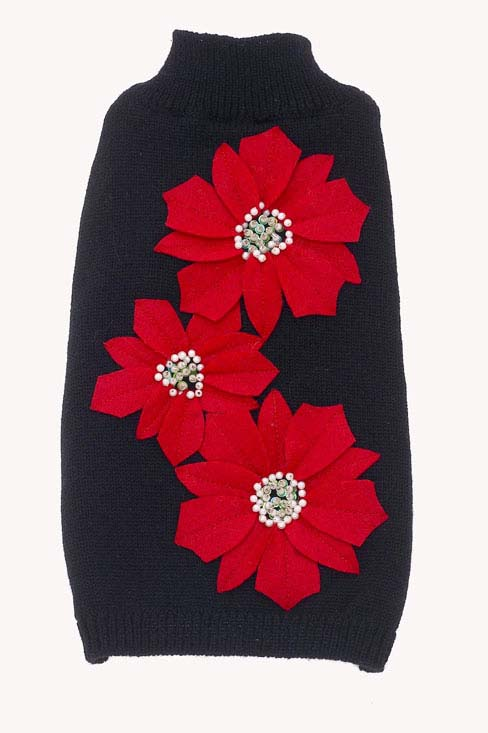Dog Sweaters-Poinsettia Flowers - A Pet's World
