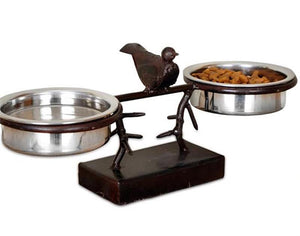 Small Rustic Wrought Iron Bird + Branches Pet Feeder - A Pet's World