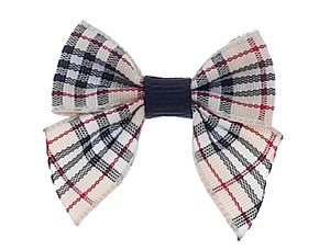 Dog Hair Bows-Tan Plaid Bow with Tails - A Pet's World