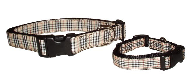 Ribbon Dog Collars-Tailored Tan Plaid - A Pet's World