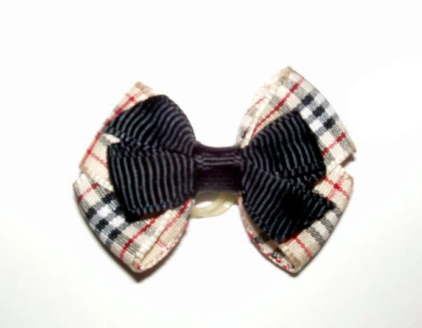 Dog Hair Bows-Tan Plaid Double Bow - A Pet's World