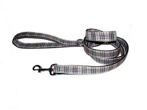 Ribbon 5 ft Leashes-Tailored Tan Plaid - A Pet's World