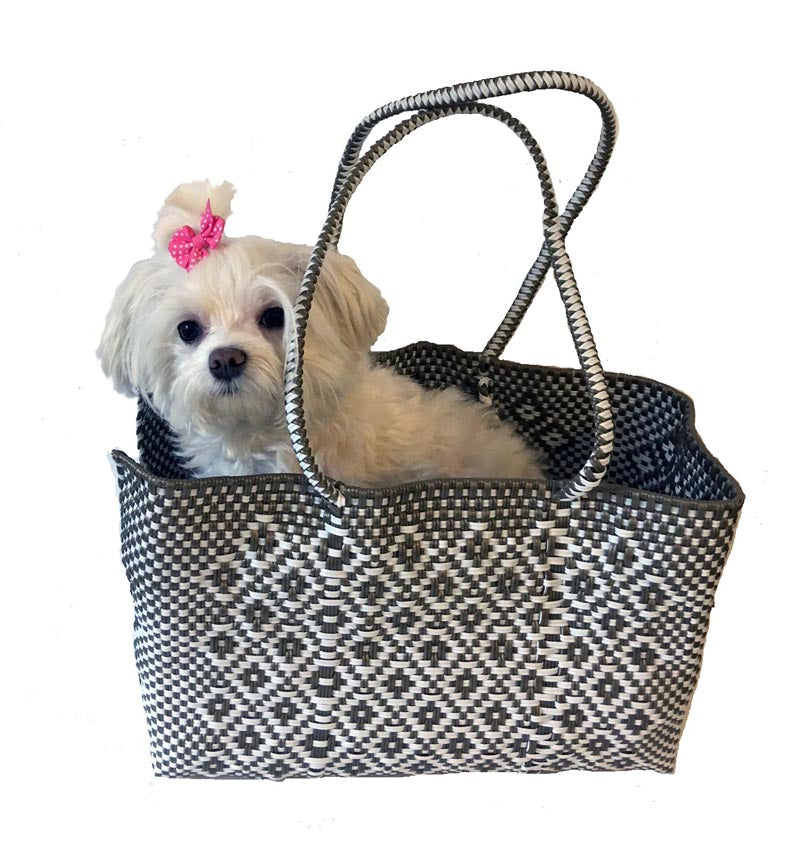 Dog Totes-Handwoven Light Weight Recycled Material-Khaki + White - A Pet's World