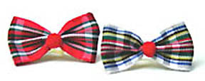 Dog Hair Bows-Tartan Bow Ties with Red Pom Poms - A Pet's World
