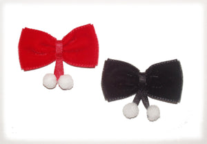 Dog Bows-Velvet Bows with Pom Poms - A Pet's World