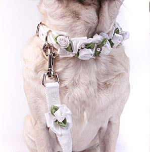 Embellished White Ribbon Dog Leashes with Petal Flowers and Pearls - A Pet's World