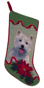 Needlepoint Christmas Dog Breed Stocking - Westie with Poinsettia - A Pet's World