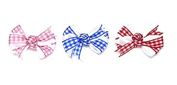 Dog Hair Bows-White Satin Gingham Knot Barrettes - A Pet's World