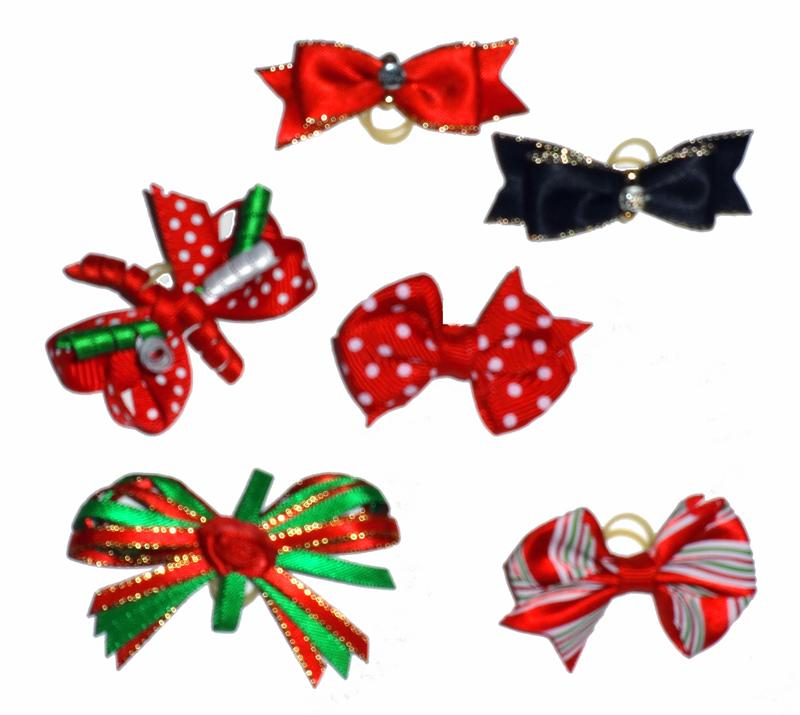 Dog Hair Bows- Group of Six Fancy Dog Christmas Bows with Elastics - A Pet's World
