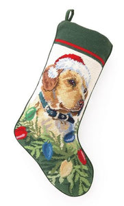 Needlepoint Christmas Dog Breed Stocking - Yellow Lab with Santa Hat and Lights - A Pet's World