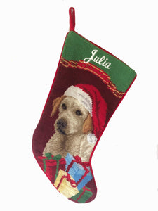 Yellow Lab Puppy with Name embroidered Needlepoint Dog breed stocking