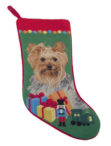 Needlepoint Christmas Dog Breed Stocking -Yorkie with Toys - A Pet's World