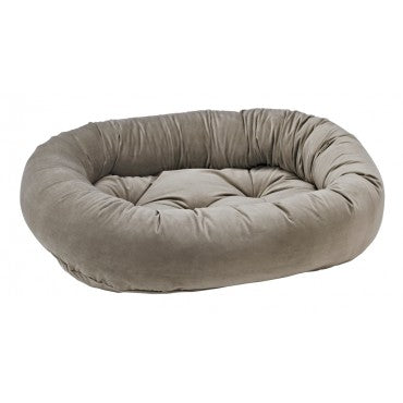 Pet Bed- Solid Pebble Grey Color Microvelvet Donut Bed - A Pet's World