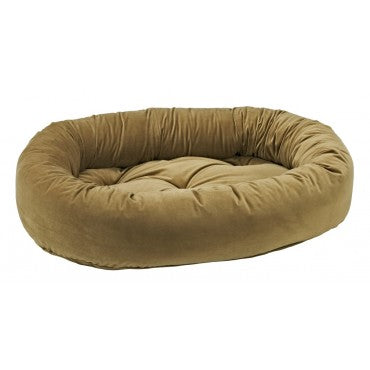 Pet Bed- Solid Toffee Color Eurovelvet Donut Bed - A Pet's World