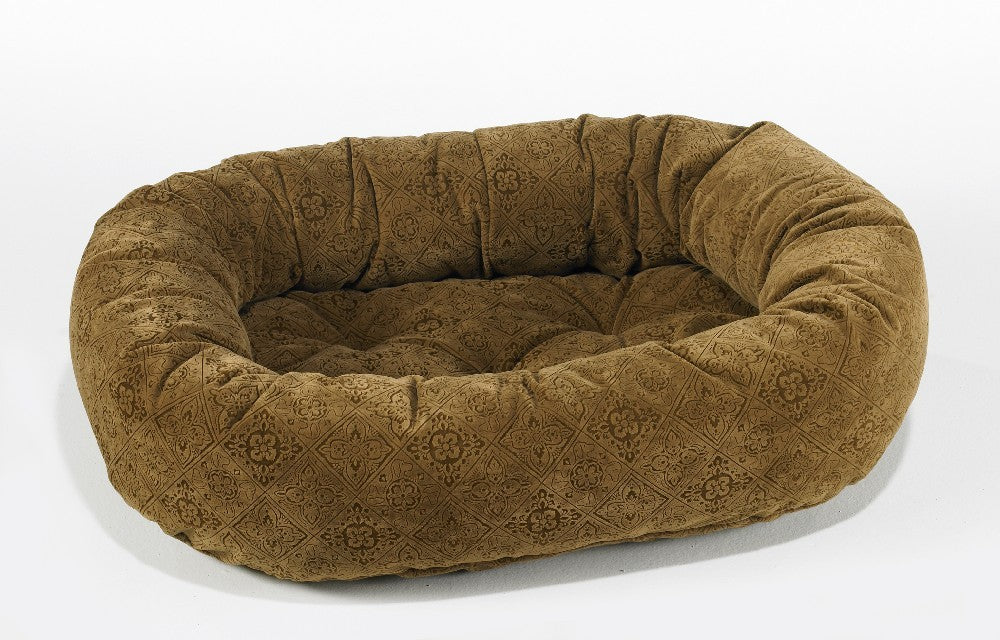 Pet Bed-Pecan Filagree Microvelvet Print Donut Bed - A Pet's World