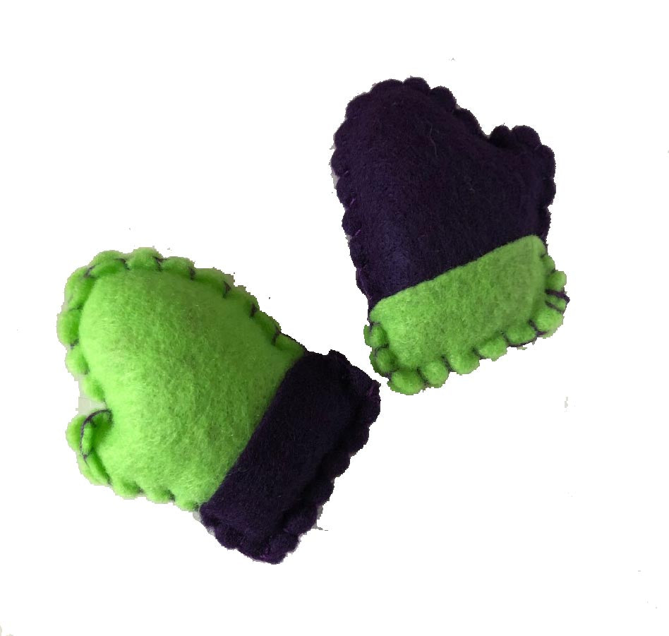 back view tiny mismatched mitten catnip toys