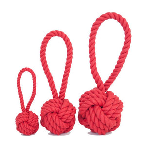 Dog Toys-Red Tug and Toss Rope Toys - A Pet's World