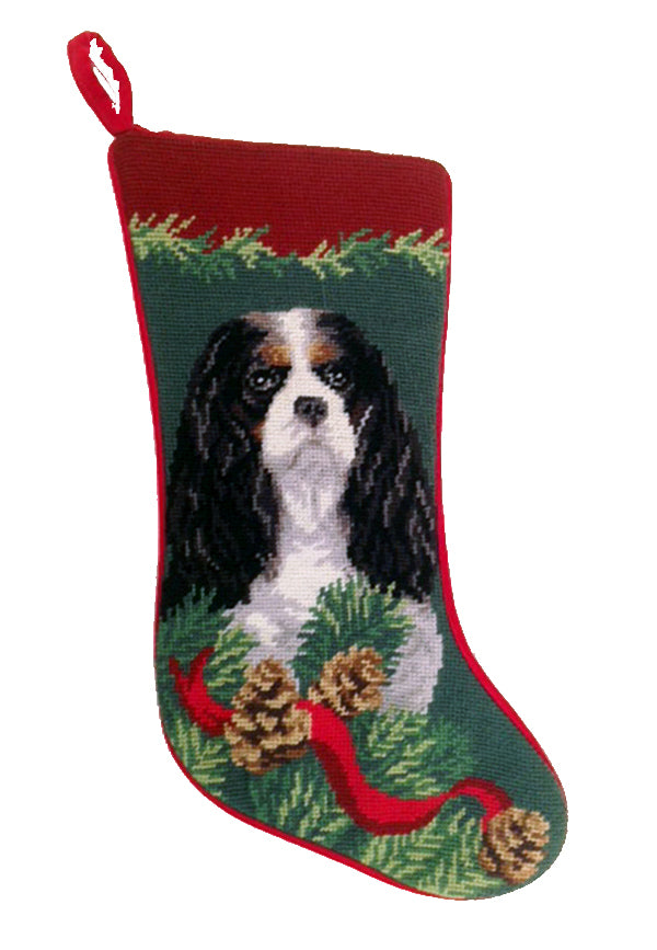 Needlepoint Christmas Dog Breed Stocking -Cavalier King Charles Tri-Color with Red Border - A Pet's World