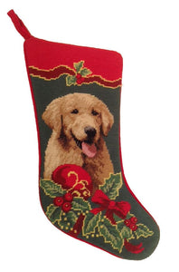 Needlepoint Christmas Dog Breed Stocking - Golden Retriever with Holly - A Pet's World