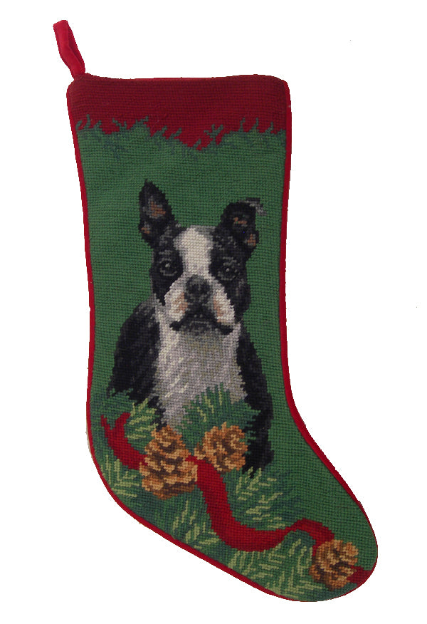 Needlepoint Christmas Dog Breed Stocking -Boston Terrier with Pine Cones - A Pet's World