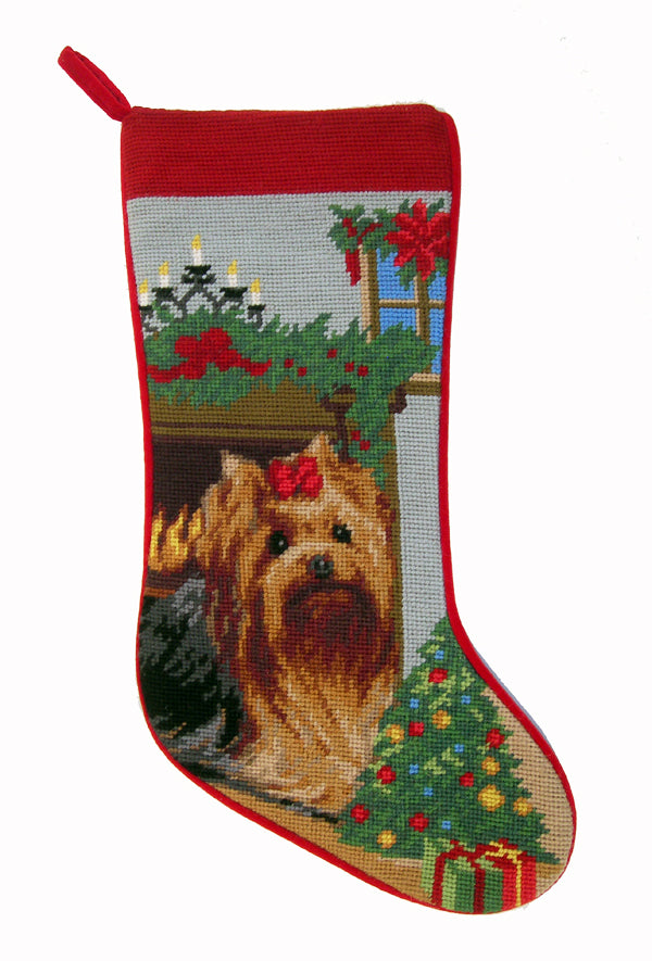Needlepoint Christmas Dog Breed Stocking -Yorkie + Fireplace - A Pet's World