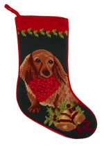 Load image into Gallery viewer, Needlepoint Christmas Dog Breed Stocking -Dachshund - Long-haired Red with Bandanna - A Pet's World