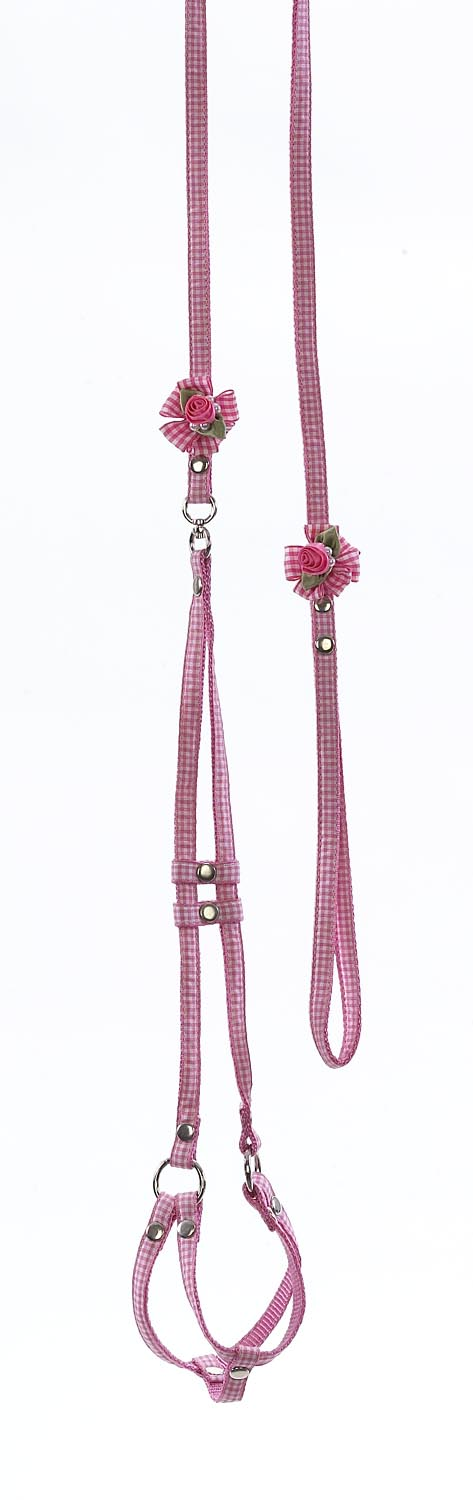 Ribbon One Piece Step-In Harness--Gingham Petal Flowers and Pearls - A Pet's World