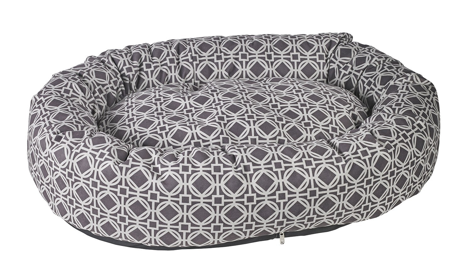 Pet Bed-Roll-O Orthopedic Big Dog Bed in Athena Grey Microvelvet. - A Pet's World