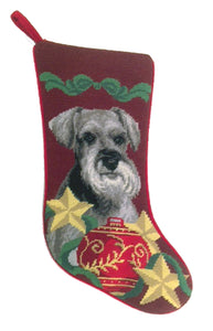 Needlepoint Christmas Dog Breed Stocking - Schnauzer with Stars - A Pet's World
