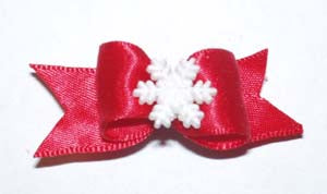 Dog Hair Bows-Snowflake Starched Show Bow Barrette - A Pet's World