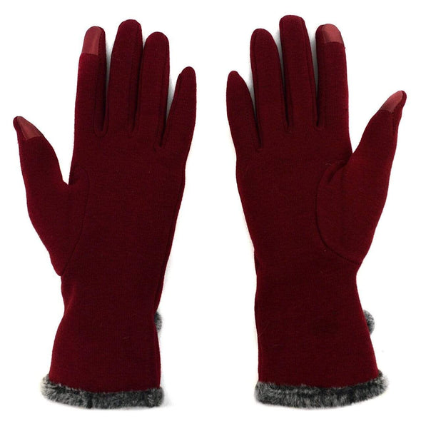 Touch Screen Gloves with Fur Trim & Fleece Lining - Sixbows.com