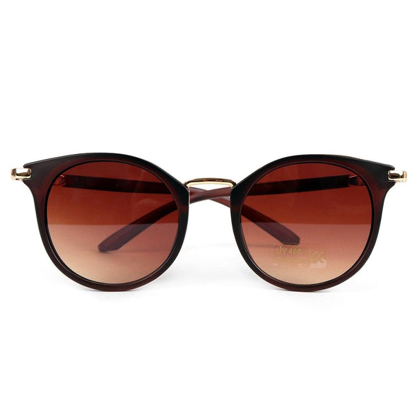 Dark Brown Round Women Sunglasses - Sixbows.com