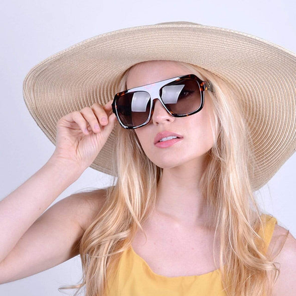 Ladie's Brown Tortoise Rectangular Sunglasses - Sixbows.com