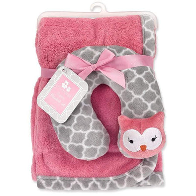 2-PIECE PINK & GREY BLANKET SET - Sixbows.com