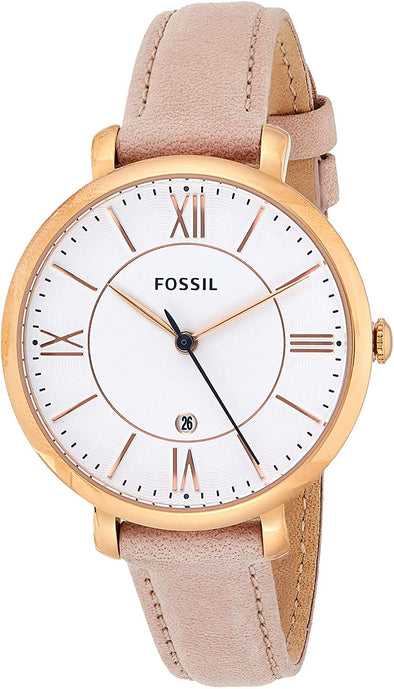 Fossil Watch Women Jacqueline Stainless Steel and Leather Casual Quartz Watch