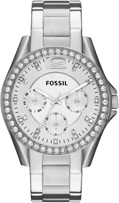 Fossil Watch Women's Riley Stainless Steel Chronograph Glitz Quartz Watch